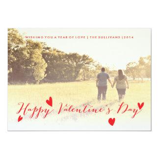 "Valentine's Day Holiday Family Photo Card 5"" X 7"" Invitation Card"