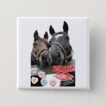 Valentine's Day Horses Button