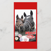 Valentine's Day Horses Holiday Card