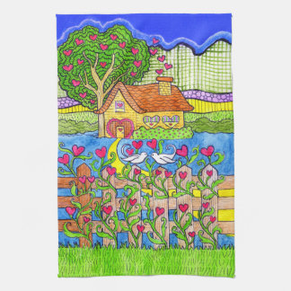 Valentine's Day House of Hearts with Doves Hand Towel
