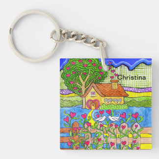 Valentine's Day House of Hearts with Doves Keychain