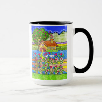 Valentine's Day House of Hearts with Doves Mug