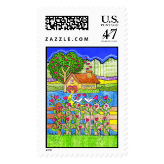 Valentine's Day House of Hearts with Doves Postage