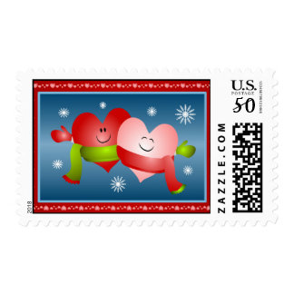 Valentine's Day Hugging Hearts Postage Stamps