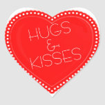 Valentine's Day Hugs and Kisses Heart Heart Sticker