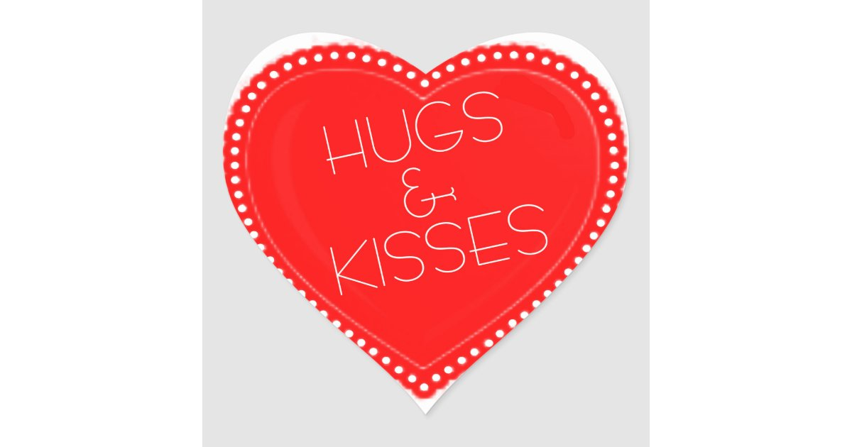 Valentine S Day Hugs And Kisses Heart Heart Sticker Zazzle