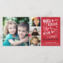 Valentine's Day Hugs and Kisses Love You Holiday Card