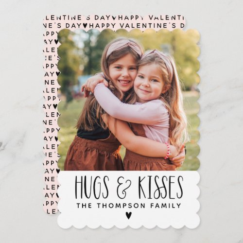 Valentines Day Hugs Kisses Photo Holiday Card