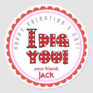 Valentine's Day I dig you stickers