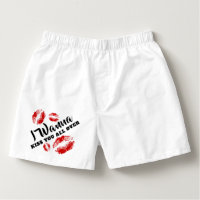 Valentine's Day I Want to Kiss You All Over Boxers