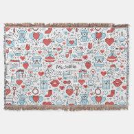 Valentine's Day Icons custom name throw blanket