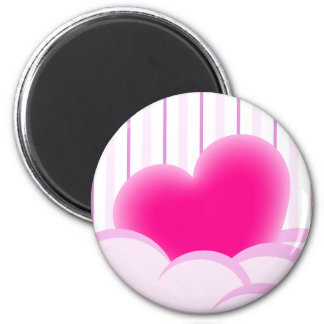 Valentines day illustration with heart and bubbles 2 inch round magnet