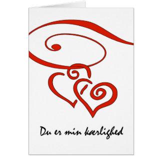 Valentine's Day in Danish, Hearts Swirl Together Card