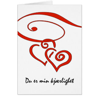 Valentine's Day in Norwegian, Swirling Hearts Card