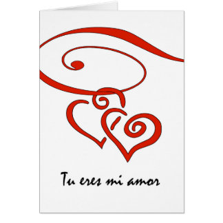 Valentineu0026#39;s Day In Spanish, Hearts Swirl Together Card