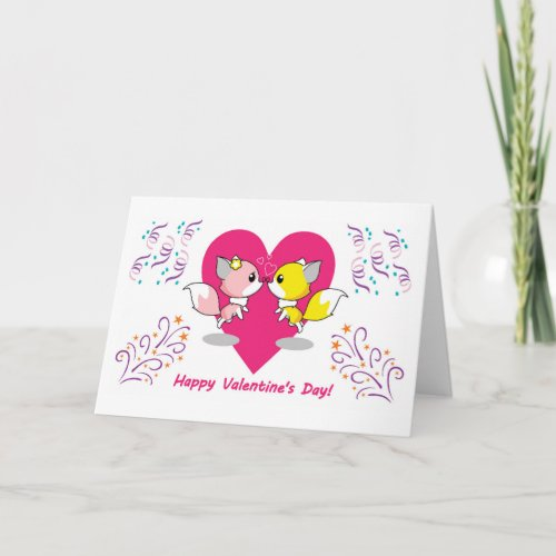 Valentines Day kawaii in love with pink heart Card