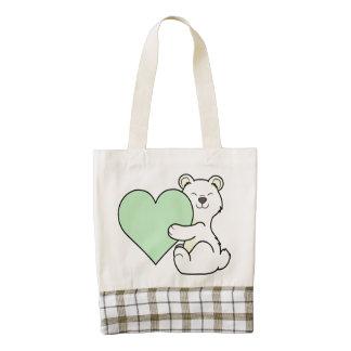 Valentine's Day Kermode Bear - Light Green Heart Zazzle HEART Tote Bag