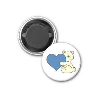 Valentine's Day Kermode Bear with Blue Heart 1 Inch Round Magnet
