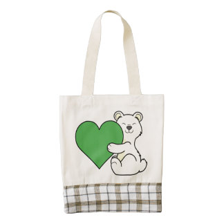 Valentine's Day Kermode Bear with Green Heart Zazzle HEART Tote Bag