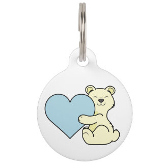 Valentine's Day Kermode Bear with Light Blue Heart Pet ID Tag