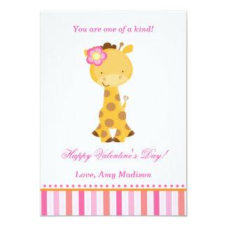 Valentines Day Kids Giraffe Pink Girl Card