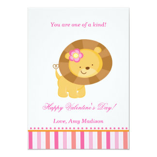 Valentines Day Kids Lion Pink Greeting Card