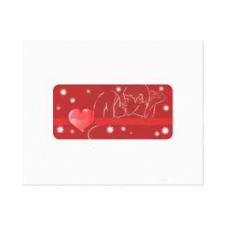 Valentine's Day Kiss and Heart Canvas Print