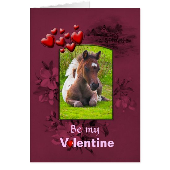 Valentines Day, Kneeling Dartmoor Pony Foal Card