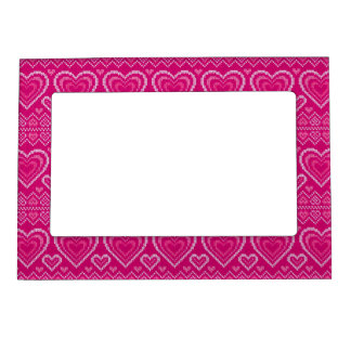 Valentine's Day Knitted Pattern 2 Magnetic Frame