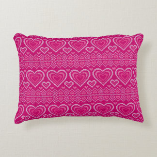 Valentine's Day Knitted Pattern 2 Accent Pillow