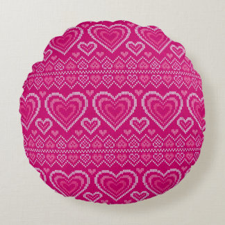 Valentine's Day Knitted Pattern 2 Round Pillow