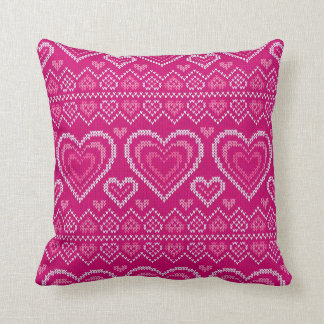 Valentine's Day Knitted Pattern 2 Pillows