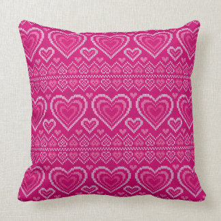 Valentine's Day Knitted Pattern 2 Throw Pillow