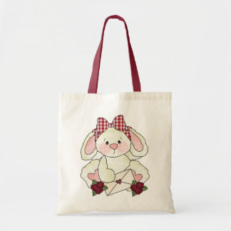 Valentine's day letter bunny tote bags