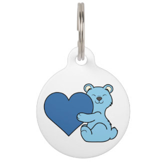 Valentine's Day Light Blue Bear with Heart Pet Name Tag