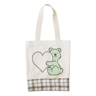Valentine's Day Light Green Bear with Cream Heart Zazzle HEART Tote Bag