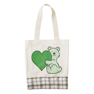 Valentine's Day Light Green Bear with Heart Zazzle HEART Tote Bag
