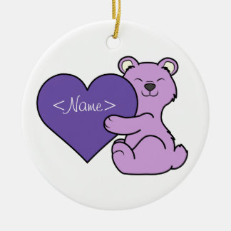 Valentine's Day Light Purple Bear - Violet Heart Ceramic Ornament