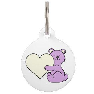 Valentine's Day Light Purple Bear with Cream Heart Pet Tag
