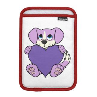 Valentine's Day Light Purple Dog with Heart iPad Mini Sleeve