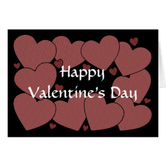 Valentine's Day - Light Red Striped Hearts Card