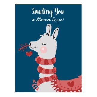 Valentine's Day Llama Love Postcard