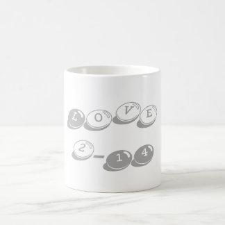Valentine's Day Love 2-14 Dark Gray Mug Basic White Mug