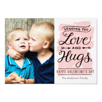 Valentine's Day Love and Hugs 5x7 Paper Invitation Card