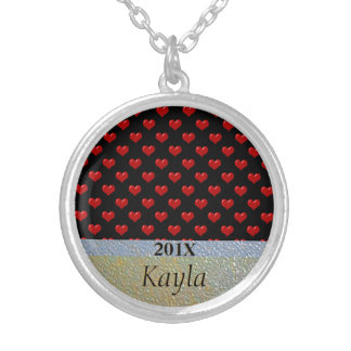 Valentine's Day Love Cute Red Hearts Pattern Round Pendant Necklace