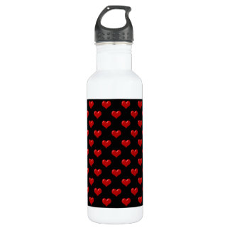 Valentine's Day Love Cute Red Hearts Pattern Stainless Steel Water Bottle