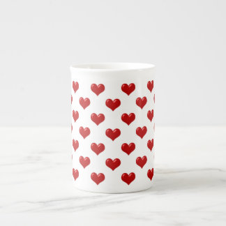 Valentine's Day Love Cute Red Hearts Pattern Tea Cup
