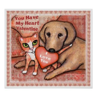Valentine's Day Love Dog And Cat Poster print