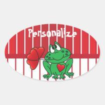 Valentines Day Love Frog Oval Sticker