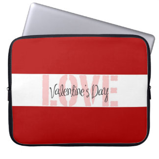 Valentine's Day LOVE Gifts Red Pink White Stripe Laptop Sleeve